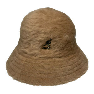 Kangol Blue Fuzzy Angora Fur Furgora Casual Bucket Hat NWT Medium Brown Tan