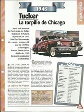 VOITURE TUCKER TORMEDO MODELE 48 FICHE TECHNIQUE AUTOMOBILE 1948 COLLECTION CAR