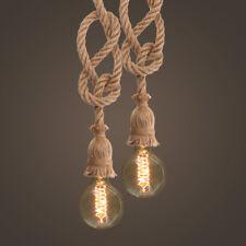 E27 Vintage Pendant Lamp Industrial Edison Hemp Loft Rope Ceiling Light  O R T