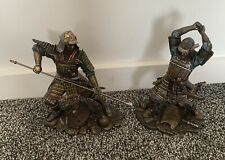 Pair Of Japanese Samurai Warriors in Combat Bronze Finish Statues