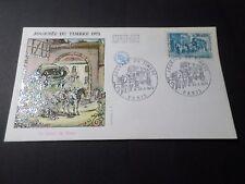 FRANCE, 1973, FDC 1° JOUR JOURNEE DU TIMBRE, CHEVAUX, RELAIS POSTE, VF