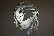 """NATIVE EAGLE"" Custom CNC plasma cut metal sign wall art 23 X 30 made in USA"