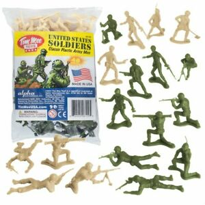 TimMee Plastic Army Men: Green vs Tan 48pc Toy Soldier Figures - Made in USA