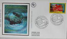 ENVELOPPE PREMIER JOUR - 9 x 16,5 cm - ANNEE 2000 - FELICITATIONS