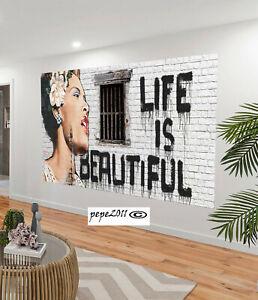 LIFE IS BEAUTIFUL HUGE  QUALITY CANVAS PRINT WALL  STREET ART