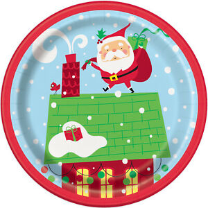 8 x Christmas Santa Paper Plates Childs Small Christmas Party plates 18cm