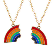 Lux Accessories Gold Tone Rainbow Colored Heart Friendship Pendant Necklace