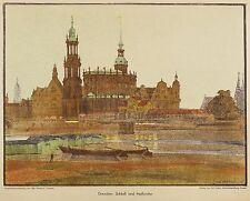 Dresde-château & HOFKIRCHE-Otto westphal-farblithografie 1908