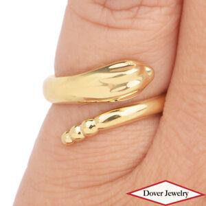 Tiffany & Co. Peretti 18K Gold Snake Bypass Ring 5.5 Grams NR $1,700.00