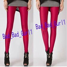 Neon Candy Color Shiny Glow Stretch Slim Pencil Party Leggings Fluorescent Pants