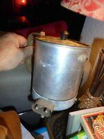 Ancienne Rustique Petite Cafetière Eléctrique VERITAS Aluminium et Tôle Emaillée