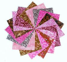 """40 5"""" Quilting fabric squares Beautiful Pink and Browns Charm pack/10 Prints!"""