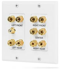 Fosmon 2 Gang 5.1 Surround Sound Wall Plate Gold 5 Pair Copper Binding Post