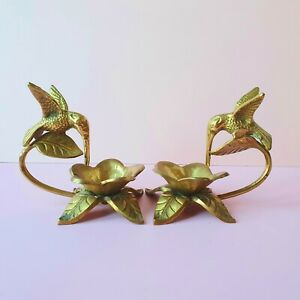 Anthropologie Brass Bird Hummingbird Lotus Indian Candlestick Pair Gold