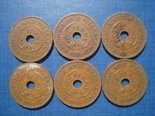 Rhodesia & Nyasland Pennies 1955 1956 1957 1958 1961 & 1962 6 Coins.