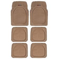 3 Row Rubber SUV VAN Car Floor Mats Deep Dish All Weather Heavy Duty Beige 6pc