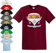 VW T-Shirt Beach Camper Cool Van Veedub Car Inspired Camping Vanagon Top S-5XL
