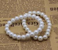 Oh Schnapp! Feine Damen 8mm Kunstperlen Perlen Stretch Armband Armreif Hoch  WG