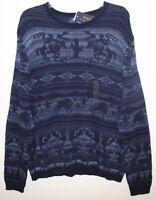 Polo Ralph Lauren Mens Blue Southwestern Cotton Linen Sweater NWT $159 Size XXL