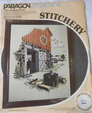 VINTAGE COMPLTE PARAGON CREWEL EMBROIDERY KIT THE CHOPPING BLOCK BARN FARMYARD