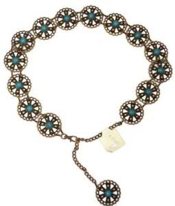 Woman's Waist Dress Metal Belt Turquoise Stone Adjustable Girls Fashion  Chain