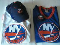 NEW YORK ISLANDERS HAT PUCK AND 2 MESH CCM JERSEYS FAN STARTER KIT