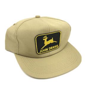 VTG John Deere Farmer Tractor Patch Trucker Snapback Hat Cap Tan Made In USA M