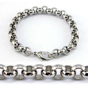 """7-11"""" 3.5/4.7/6/8mm 316L Stainless Steel Silver Women Men's Rolo Chain Bracelet"""