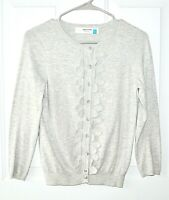 Sparrow Anthropologie Size XS Gray Ruffle Front Cardigan Sweater 5% Cashmere