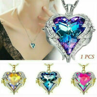 Women 925 Silver Angel Wing Necklace Heart Crystal Chain Pendant Charm Jewelry