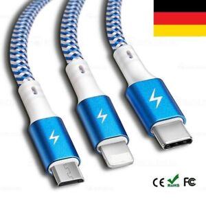 3in1 Multi Universal Ladekabel Für Schnell Micro USB Typ-C Samsung Kabel DHL