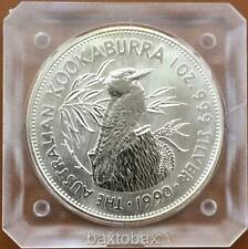 1990 AUSTRALIAN KOOKABURRA *INAUGURAL YEAR* 1 oz SILVER $5 COIN *UNC Orig Sq Cap