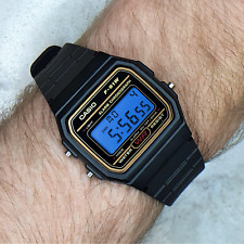 Modified Casio F91W Watch (Gold detail) with Steel Blue Screen Modification