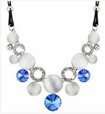 Fashion Charm Pendant Chain Crystal Jewelry Choker Chunky Statement Bib Necklace NWE 1 Blue Silver