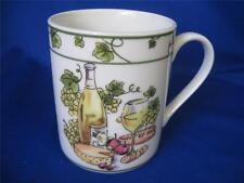 "Coffee Tea Mug Cup I. Godinger & Co. 4"" Wine cheese apples grapes Green bands"