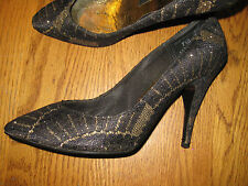 WILD NIGHTS LADIES SHOES BLACK WITH METALLIC GOLD GLITTER 7.5M MINT CONDITION