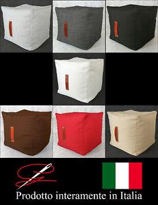 POUF POUFF PUFF CUBO MORBIDO GRANDE TESSUTO MANIGLIA DESIGN MADE IN ITALY