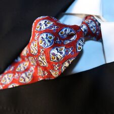 UNGARO PARIS Made in Italy Red with Blue Yellow Purple White Floral Tie