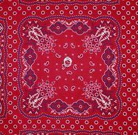 BonEful FABRIC FQ Cotton Quilt Red White Blue Bandana Paisley Flower Block Scarf