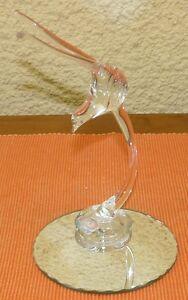 Oiseau en verre soufflet bouche et son support en miroir  (431035)