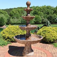 """Sunnydaze Large Tiered Ball Outdoor Water Fountain Backyard Garden Feature - 80"""""""