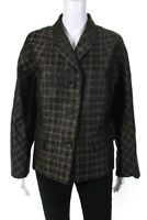 Lafayette 148 New York Womens Button Down Collared Plaid Jacket Green Size XL