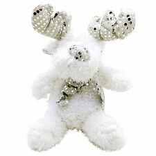 "White Plush Christmas Reindeer: Silver Sequin Antler's 13"""