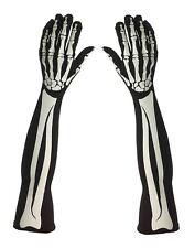 Ladies Long Halloween Style Skeleton Bone Fancy Dress Gloves