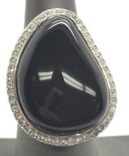 Sterling Silver 925 Geometric Pear Black Onyx CZ Halo Wide Chunky Statement Ring