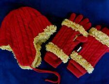 MUKLUKS RED FURRY HELMET / TRAPPER HAT, GLOVES, & ARM/HAND WARMERS