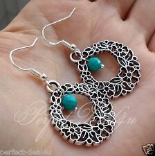 Natural Turquoise Tibetan Silver Hoops 925 Sterling Silver Hook Circle Earrings