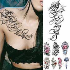 Body Art Temporary Tattoos Rose Flowers Women Fake Stickers Waterproof Butterfly