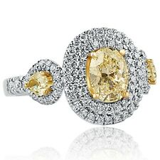 2.17 Ct Oval Cut Pear Side Yellow Diamond Engagement Halo Ring 18k White Gold