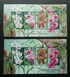 *FREE SHIP Singapore Australia Joint Issue Native Orchids 1998 (ms pair) MNH